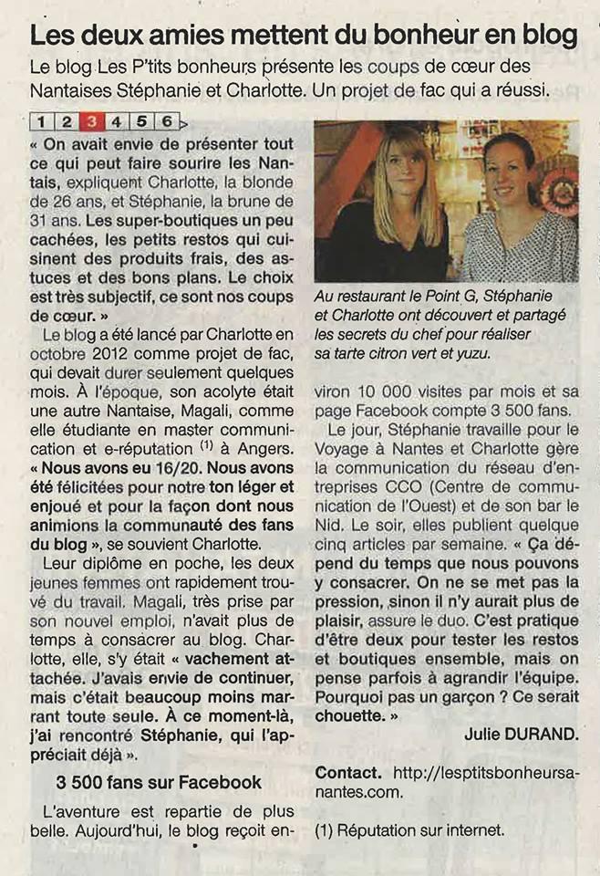 Les ptits bonheurs à nantes sur Ouest France !